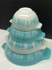 Vtg Pyrex Amish Butterprint Cinderella Mixing Bowls Complete Set of 4 Turquoise