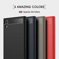 For Sony Xperia XA1 XZ1 Compact Shockproof Soft Rubber Case Carbon Fiber Cover