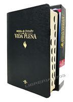 BIBLIA DE ESTUDIO VIDA PLENA REINA VALERA 1960 PIEL ESPECIAL NEGRO CON INDICE