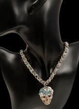 New Betsey Johnson Halloween Rhinestone Necklace With Skull /Flower Pendant