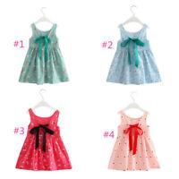 Baby Kids Girls Dress Toddler Princess Party Tutu Summer Floral Dress Cute km90