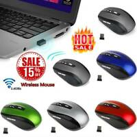 2.4GHz Cordless Wireless Optical Mouse Mice Laptop PC Computer + USB Rec HU89