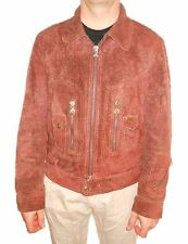 DIESEL Mens Collectors Lamb Leather Motor Bomber Biker Aviator Jacket Coat sz L