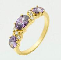 Natural Gemstone Amethyst Ring 14K Yellow Gold Purple Women's Engagement Jewelry