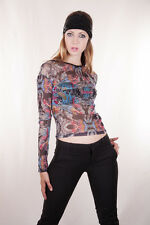designer casual sexy boho party sheer stretch mesh top size 14 chinese dragon