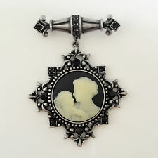 Victoria Concept Vintage Style Dangle Mother Baby Cameo Black Brooch Pin BR1062