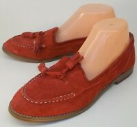 Steve Madden Wos Shoes DRIFTERR US 8.5 Red Suede Tassel Slip-on Loafers Moc Toe