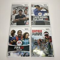 Nintendo Wii Games Lot Tennis Tiger Woods Golf Fishing FIFA - Tested Complete