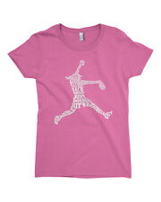 Softball Player Typography Girls Fitted T-Shirt Girl Softball Pitcher