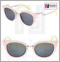 FENDI ORCHIDEA FF0118S Pink Yellow Blue Mirrored Zig Zag Metal Sunglasses 0118