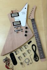 E1958 Explorer Style Electric Guitar DIY Kit,Complete No-Soldering,Mahogany Body
