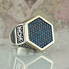 Turquoise Gemstone Solid  925 Sterling Silver Man Ring  HandMade AAA Quality