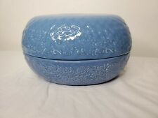 New listing Temptations blue oval egg floral spring oven dish with holder bouquet