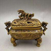 Chinese Perfect Old copper hand-made dragon Decorative incense burner decoration