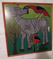 Genuine Early 1960's Signed Mpata Tinga Tinga Painting - Zebra