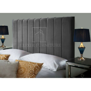 "Plush Velvet Headboard Portland 9 Panel - 20"", 24"" Height - All Sizes & Colours"