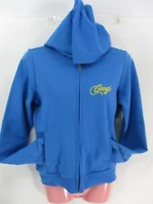 New COOGI Womens Hoodie Size Med Blue Full Zip Embellished Back Cotton Polyester