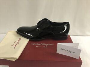 New In Box Salvatore Ferragamo Charles Black Patent Dress Shoes Size 8.5 $695.00