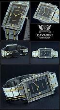 "Elongated Watchband """" Chevalier """" Cavadini Designer Stainless Steel Bi-Color"