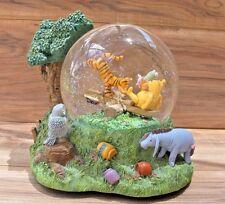 DISNEY STORE Winnie The Pooh Glitter Musical Snow Globe Piglet Eeyore Tigger EUC