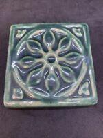 "Pewabic Art Pottery 1995 Detroit Flower Snowflake Square Tile 3.75"" Green"