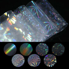 7pcs Clear Holographic Nail Art Foil Transfer Stickers 3d Nails Starry Decora...