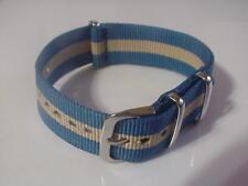 Blue/Tan SKUNK BOND 20mm G10 Military strap band 4 TIMEX Weekender & ZULU Watch