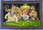 "Vintage 'Dogs Playing Pool' 53"" x 39"" Billards Hanging Wall Tapestry"
