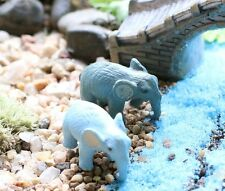 2 pcs Miniature Elephant Fairy Garden Ornament Cute Terrarium Animal Decorations