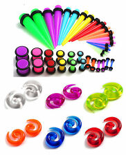 48pc Starter Color Ear Stretching Kit Set 00G-14G Tapers Plugs Spirals gauges