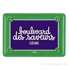 """Plaque de porte Cuisine """"Boulevard des Saveurs"""" en métal - DLP Derrière La Porte"""
