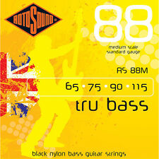 Rotosound RS88M Black Nylon Flatwound Medium Bass Guitar Strings (65-115)