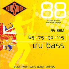 Rotosound RS88M Black Nylon Flatwound Medium Bass Guitar Strings (65-115) +Picks