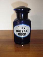 Seltene Apothekenflasche PULV: ORYZAE ODOR 19.Jh. Kobaltblau.