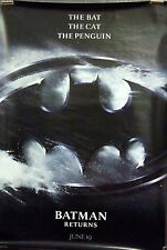 Batman Returns Original Double Sided Movie Poster Keaton Devito Pfeiffer L@@K!!