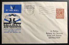 1934 Glasgow England First Flight Cover Ffc to Birmingham Railway Airmail