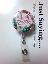 MERRY CHRISTMAS Floral Wreath Looks Reds ~ Retractable Reel ID Badge Holder