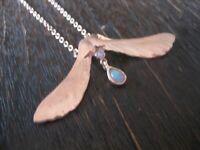 traumhaft schönes Jugendstil Collier Mistel 925er Silber rotgold echter Opal