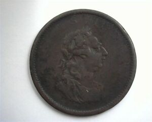 IRELAND 1805 PENNY GEORGE III HIBERNIA KM-148.1 EXTREMELY FINE RARE THIS NICE!