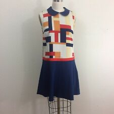 Modcloth Drop Waist Dress Sz S Blue Peter Pan Collar Sleeveless Geometric Orange