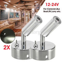 2x LED Spot Reading Light Cabinet Lamp Switch Caravan Van Motorhome Boat 12V ^