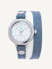 DENIM BLUE Silver Del Mar Double WRAP WATCH La Mer Collections Womens Leather