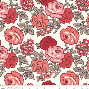 """Flea Market Cotton Fabric Lori Holt Roses Wide Backing 108"""" Red"""