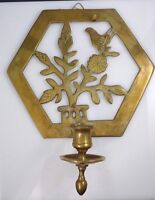Vintage Brass Metal Bird Wall Sconce Candle Holder Flowers Leaves Hexagon Shape