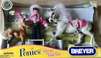 Breyer New in Box PONIES HORSE & FOAL SET #7039 Horse, Foal, Rider, Accessories