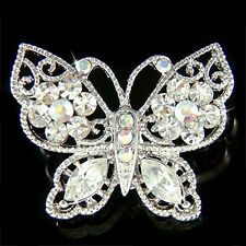 w Swarovski Crystal Dainty Clear BUTTERFLY Bridal Wedding Pin Brooch Jewelry New