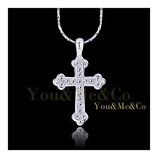 18k White Gold EP 0.31ct Brilliant Cut Crystal Cross Pendant Necklace