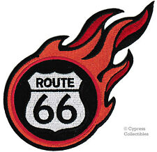 ROUTE 66 iron-on FIRE FLAMES BIKER PATCH new ROAD SIGN embroidered applique