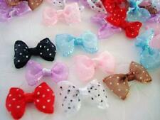 """70 Hand Made Sheer Organza Polka Dots 1"""" Ribbon Bow Tie/cute/trim/red/pink F83"""