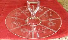 """ETCH GLASS TRAY DEPRESSION CENTER HANDLE FLORAL 10 X 5"""" VINTAGE NICE CONDITION"""